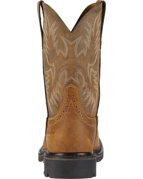 Ariat Men's Sierra Steel Square Toe Western Work Boots, Aged Bark, hi-res