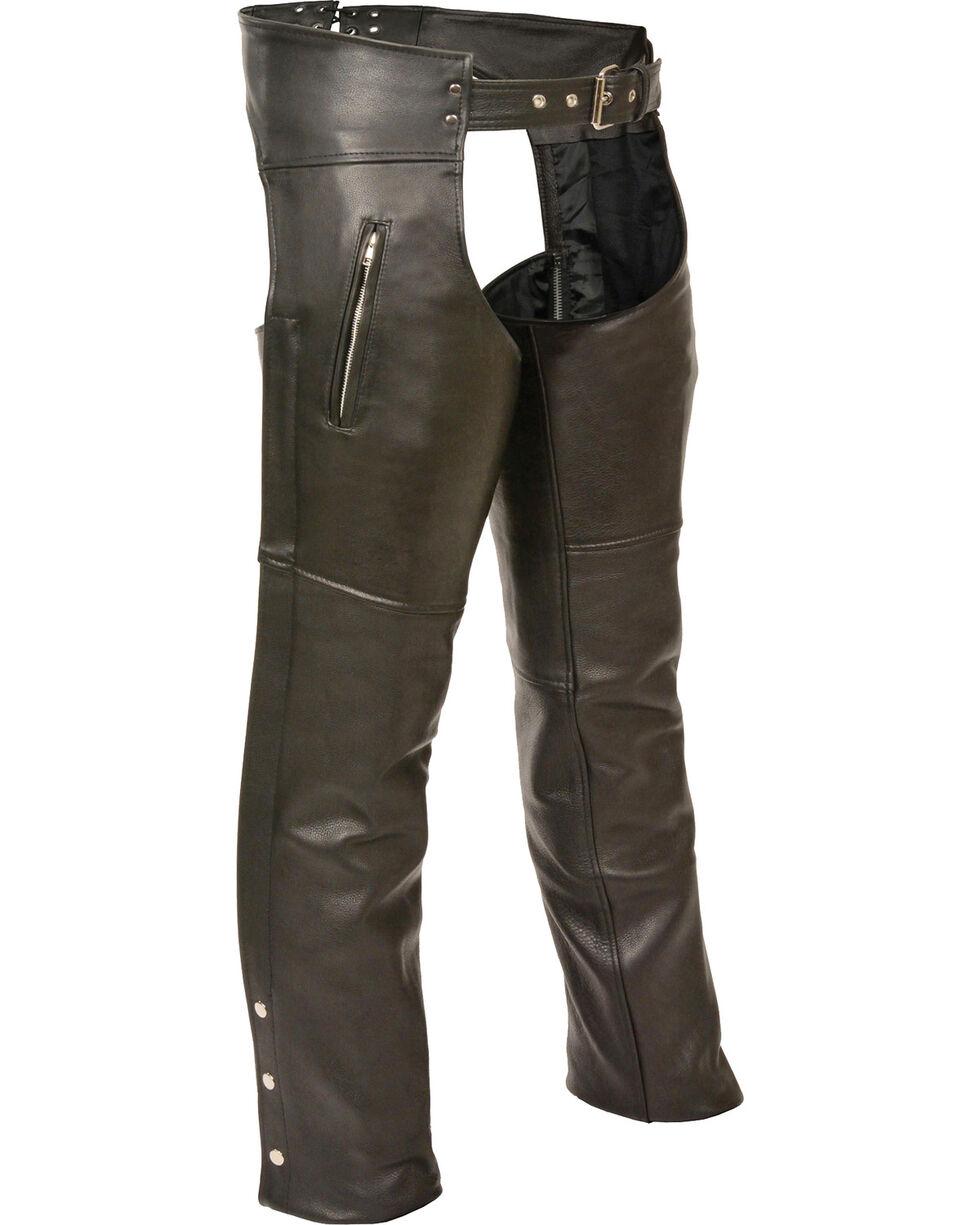 Milwaukee Leather Men's Zipper Thigh Pocket Classic Chaps, Black, hi-res