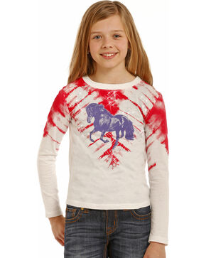 Rock & Roll Cowgirl Girls' Tie-Dye Print Horse T-Shirt , Light/pastel Pink, hi-res