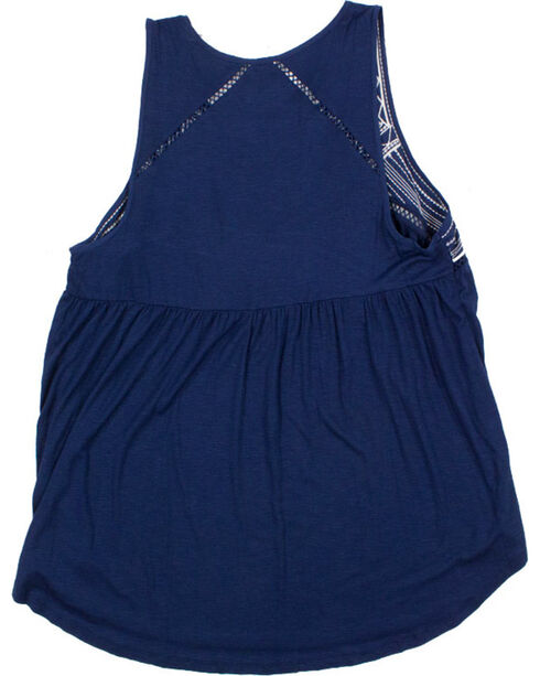 Eyeshadow Women's Plus Embroidered Tank, Navy, hi-res