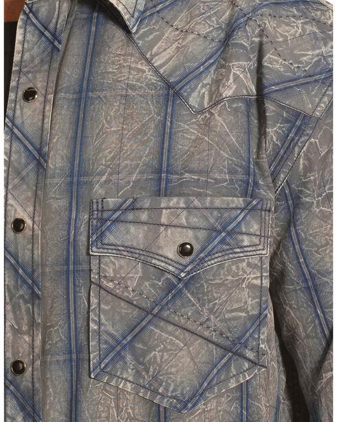 Crazy Cowboy Men's Muted Grey and Blue Plaid Western Snap Shirt  , Grey, hi-res