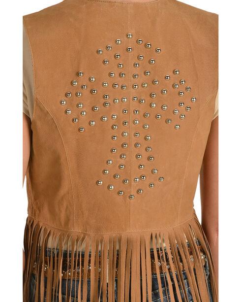Red Ranch Women's Long Suede Fringe Vest, Brown, hi-res