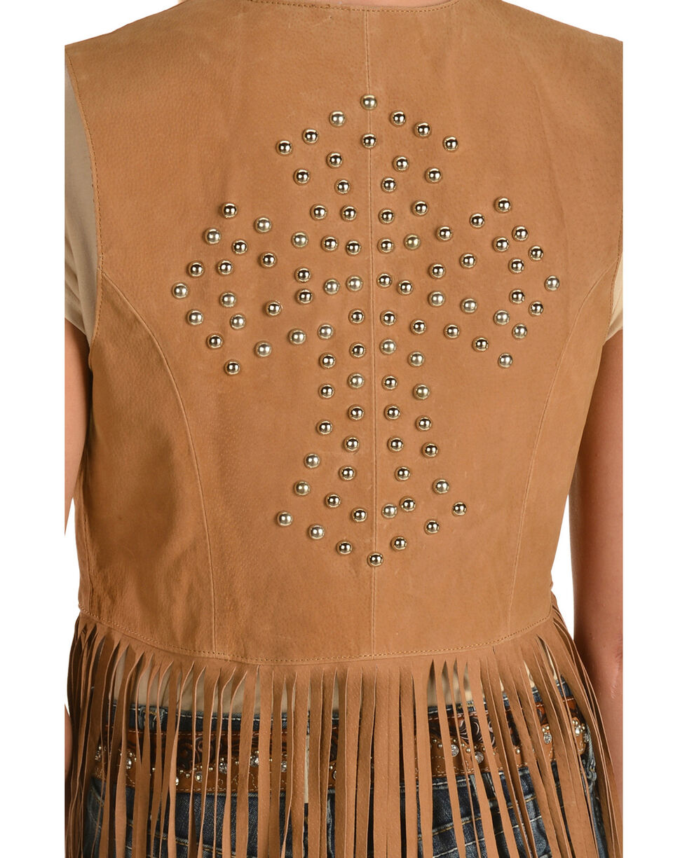 Red Ranch Women's Long Suede Fringe Vest, Brown, hi-res
