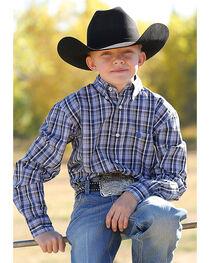 Cinch Boys' Long Sleeve Multi Plaid Plain Weave Button Down Shirt, , hi-res