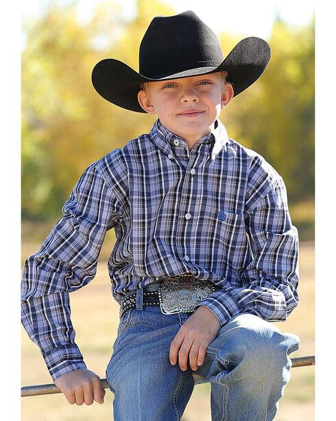 Cinch Boys' Long Sleeve Multi Plaid Plain Weave Button Down Shirt, Multi, hi-res
