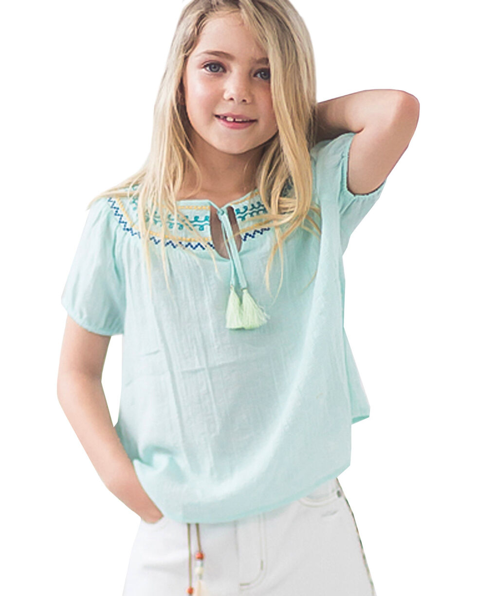 Idol Mind Girls' Embroidered Tie Neck Peasant Top, Green, hi-res