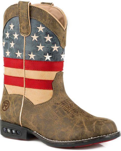Roper Boys' Brown Patriot Western Boots - Round Toe , Brown, hi-res