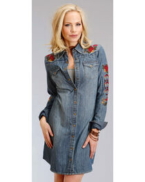 Stetson Women's Embroidered Denim Shirt Dress, , hi-res