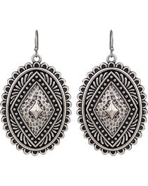 Rock 47 by Montana Silversmiths Antique Silver Concho Earrings, , hi-res