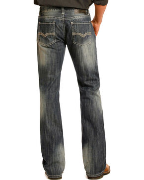 Rock & Roll Cowboy Men's Vintage Wash Boot Cut Jeans, Blue, hi-res
