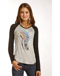 Rock & Roll Cowgirl Women's Grey Indian Headdress Baseball Tee , , hi-res