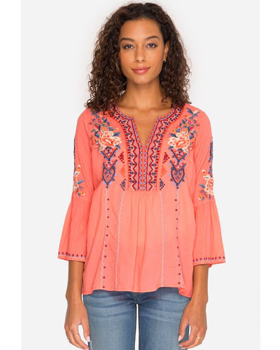 Johnny Was Women's Marion Flare Sleeve Blouse , Coral, hi-res