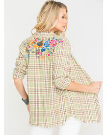 MM Vintage Women's Green Back Embroidered Plaid Shirt , , hi-res
