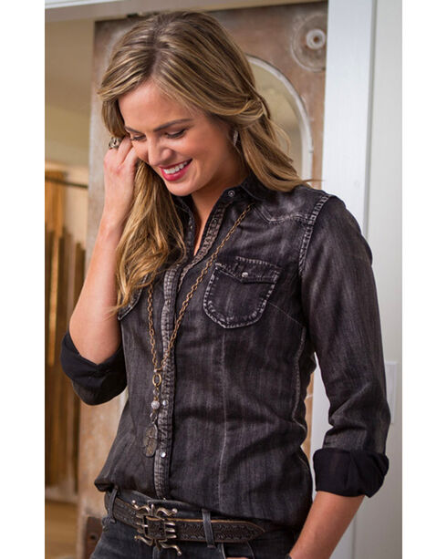 Ryan Michael Women's Black Denim Shirt , Black, hi-res