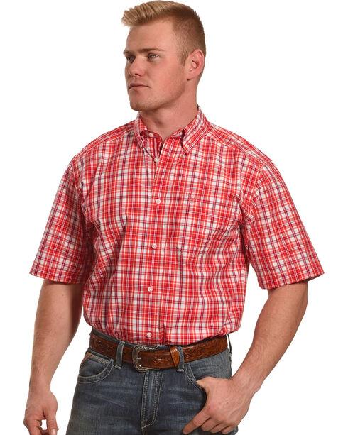 Ariat Men's Red Graham Plaid Short Sleeve Shirt , Red, hi-res