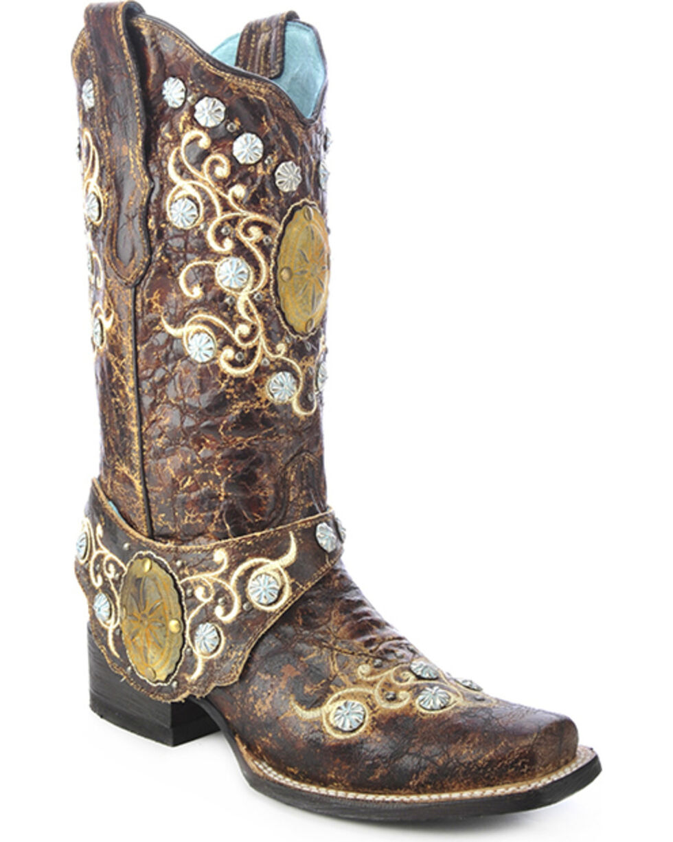 Corral Women's Concho Harness Western Boots, Brown, hi-res