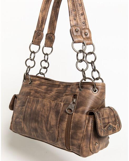 Shyanne Women's Chain Fringe Arrow Charm Concealed Carry Satchel, Brown, hi-res