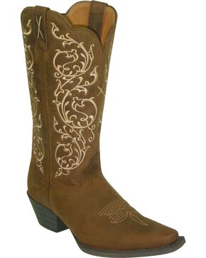 Twisted X Women's Floral Embroidery Western Boots, Distressed, hi-res