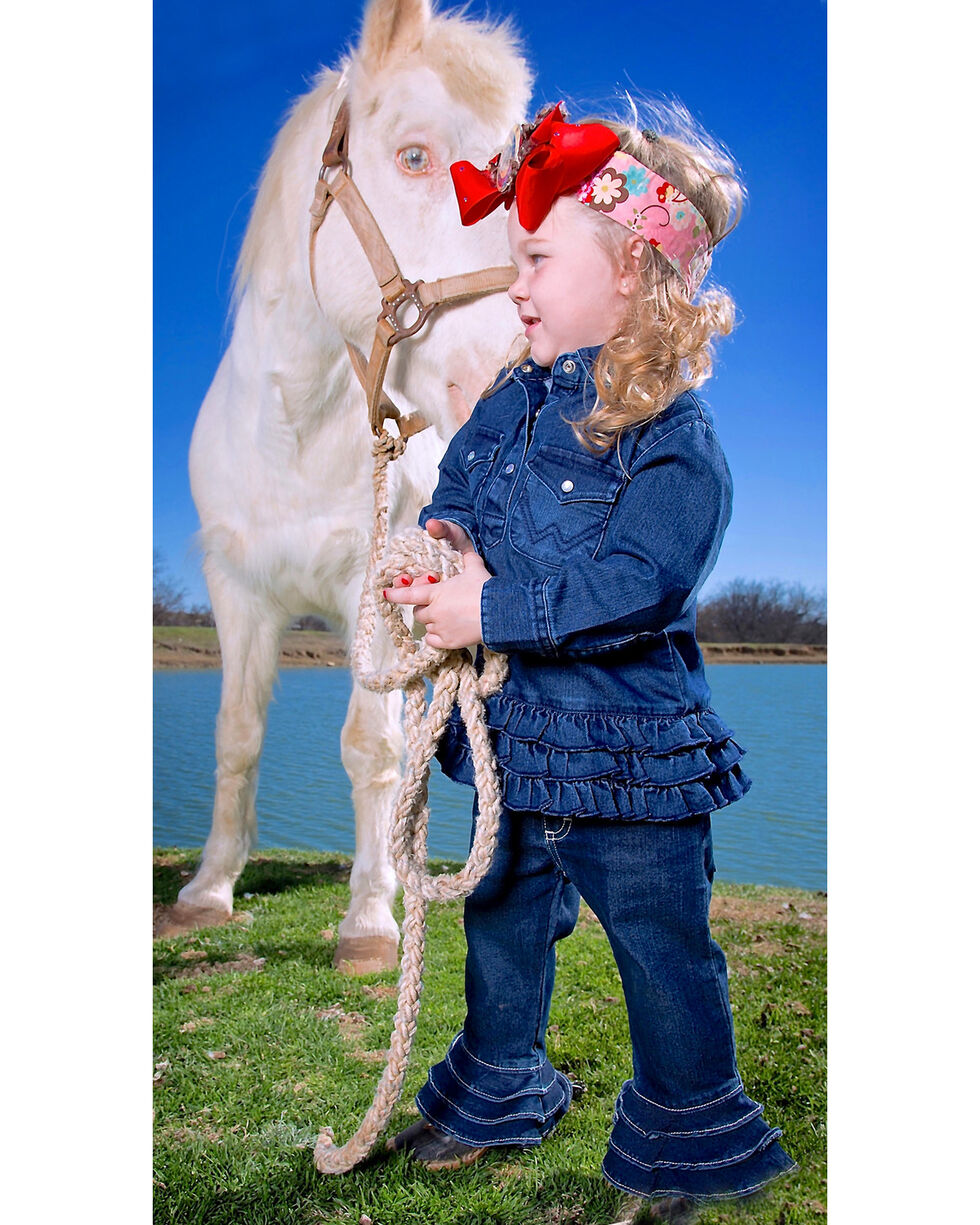 Wrangler Toddler Girl's Denim Ruffle Long Sleeve Onesie, Denim, hi-res