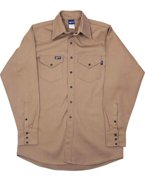 Lapco Men's Long Sleeve 7 oz. Flame Resistant Work Shirt, Beige/khaki, hi-res