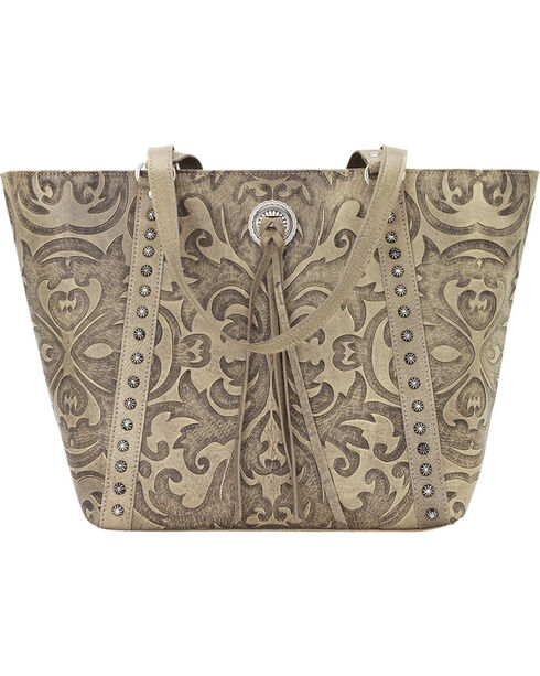 American West Sand Baroque Zip Top Bucket Tote , Sand, hi-res