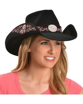 Bullhide Women's Rockin' To The Beat Wool Hat, Black, hi-res