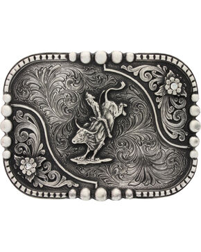Montana Silversmiths Classic Impressions Bullrider Attitude Belt Buckle, Silver, hi-res