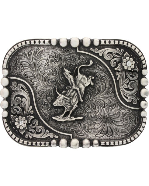 Montana Silversmiths Classic Impressions Bullrider Attitude Belt Buckle, Silver, hi-res