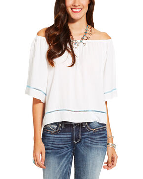 Ariat Women's Off The Shoulder Top, White, hi-res