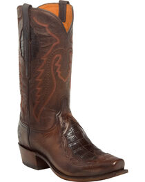 Lucchese Men's Bryson Chocolate Caiman Inlay Western Boots - Square Toe, , hi-res