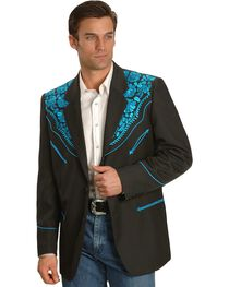 Scully Turquoise-hued Floral Embroidered Black Western Jacket, , hi-res