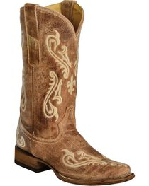 Corral Women's Cortez Cleff Embroidered Square Toe Western Boots, , hi-res