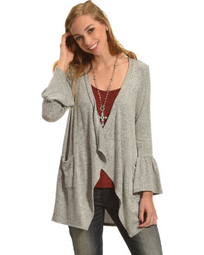 Moa Moa Heather Grey Brushed Knit Bell Sleeve Cardigan, Heather Grey, hi-res