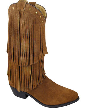 Smoky Mountain Wisteria Brown Fringe Short Boots - Pointed Toe, Brown, hi-res