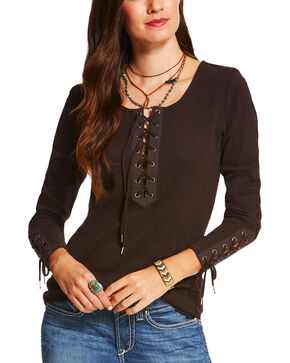 Ariat Women's Brown Murphy Long Sleeve Top , Brown, hi-res