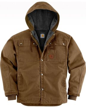 Carhartt Sandstone Hooded Sherpa-Lined Multi Pocket Jacket, Brown, hi-res