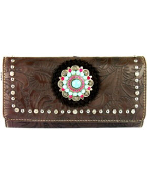 Montana West Concho Collection Wallet, Brown, hi-res