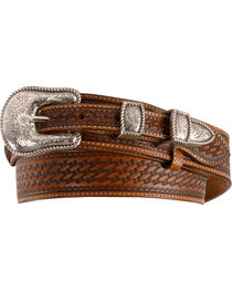 Justin Basketweave Leather Ranger Belt - Reg & Big, , hi-res