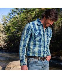 Ryan Michael Men's Indigo Box Plaid Western Shirt, , hi-res