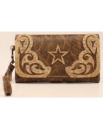 Blazin Roxx Snake Skin Star Clutch Wallet, , hi-res