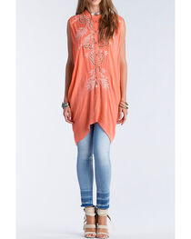 Miss Me Women's Coral Embroidered Button Down Tunic, , hi-res