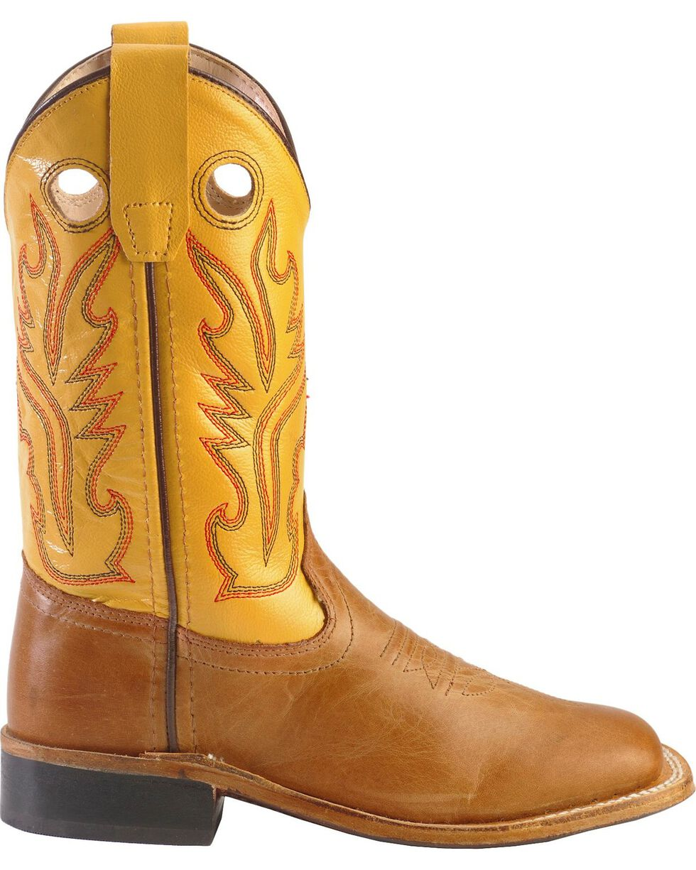 Jama Children's Broad Square Toe Western Boots, Tan, hi-res
