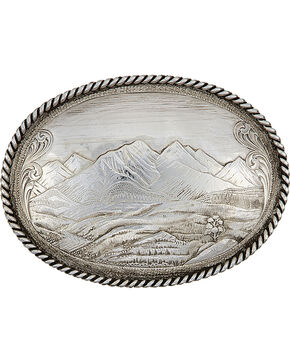 Montana Silversmiths Antiqued Mountain Scene Belt Buckle, Silver, hi-res