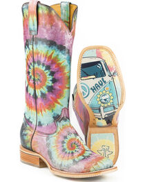 Tin Haul Women's Groovy with Tie Dye Camper Sole Cowgirl Boots - Square Toe, , hi-res