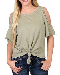 Others Follow Women's Cold Shoulder Tie Front T-Shirt, , hi-res