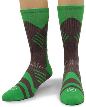 Ariat Men's Calf Length Crew Socks, Green, hi-res