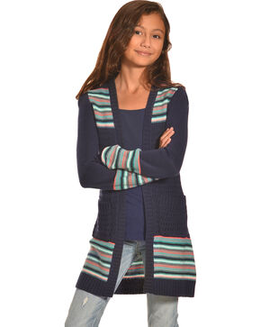 Derek Heart Girls Jacquard Fringe Duster , Navy, hi-res