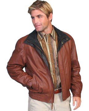 Scully Double Collar Leather Jacket, Mahogany, hi-res