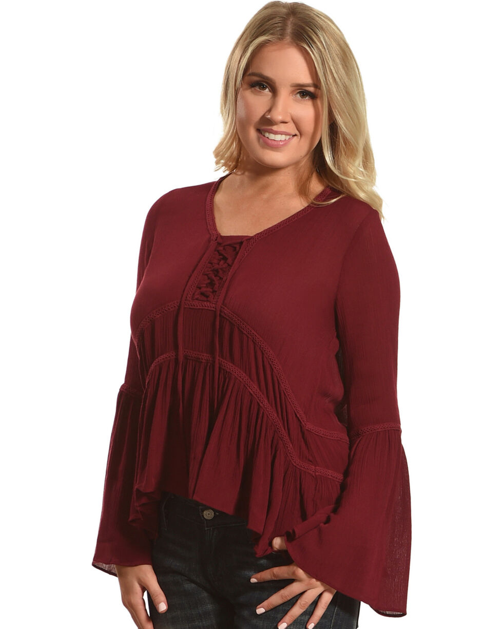 HYFVE Women's Lace-Up Bell Sleeve Peasant Top, Burgundy, hi-res