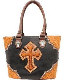 Blazin Roxx Tooled Cross Tote Bag, , hi-res